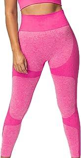 Apofly 1PC Yoga Tight Pants Leggings Gym sans Couture Femmes Taille Haute Yoga Legging Gym Workout Courir Rosy L
