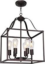MELUCEE 16-inch Foyer Chandelier Bird Cage Oil Rubbed Bronze 6 Lights, Dining Room Lighting Fixtures Hanging Lantern Pendant Light Industrial Style for Kitchen Island Entryway Hallway