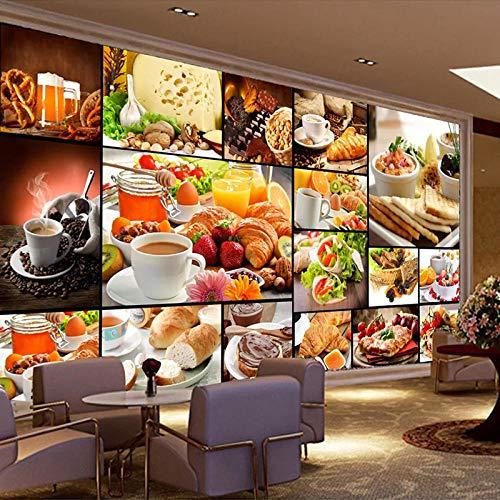 Aangepaste 3D foto Wallpaper waterdichte brood bakken melk thee Dessert winkel Cafe achtergrond muur Decor Poster Papier Peint muurschildering 3D-400x280cm(157.5by110.2in)