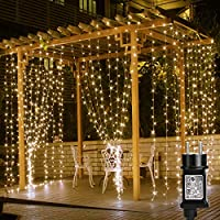 LE Cortina de Luces LED con Enchufe 3x3m 306 LED, Luz Decorativa Blanco Cálido, Impermeable para a Interior y Exterior, 8 Modos Luz, Cadena Luces para Fiestas, Bodas, Jardin, Navidad, Aniversario, etc