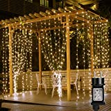 LE Cortina de Luces LED con Enchufe 3x3m 306 LED, Luz Decorativa...