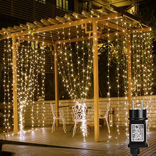 Lepro LED Lichtervorhang 3m x 3m, 8 Modi 306 LEDs Vorhang Lichterkette, Warmweiß Lichterkettenvorhang, Lichterketten für Außen Innen Deko Schlafzimmer, Partydekoration, Weihnachten, Hochzeit