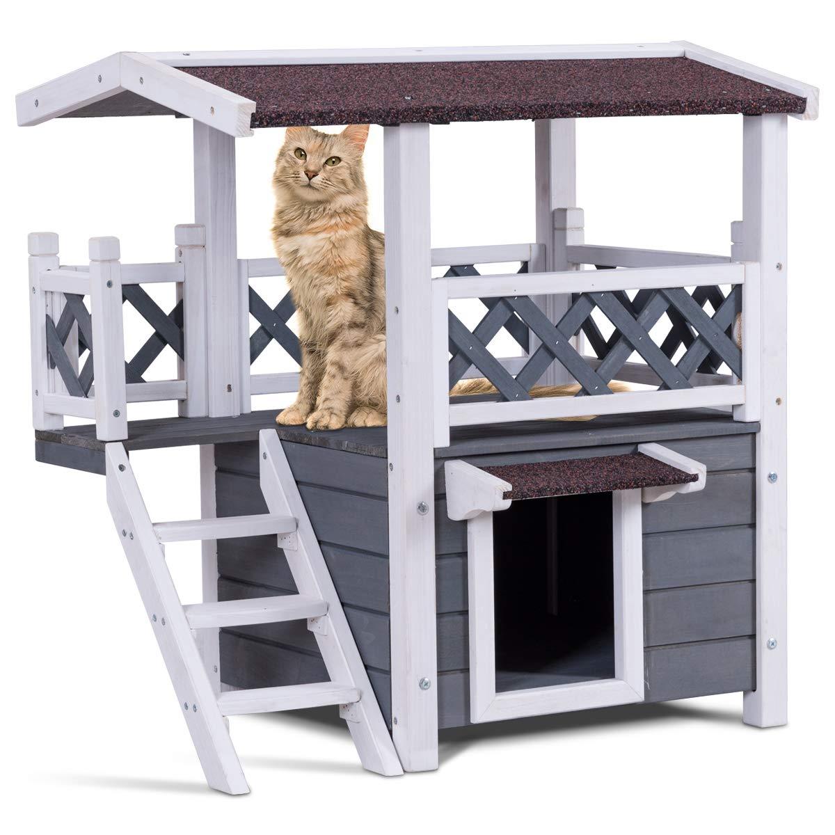 COSTWAY Casa para Gatos de Madera Caseta para Gatos con Terraza y Escalera 70,5 x 54 x 73,5 Centímetros Impermeable para Jardín Patio Exterior: Amazon.es: Productos ...