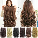 Artifice Super Volume 200gm 26Inch 5 Clips Curly/Wavy Hair Extension Maroon+Brown)1