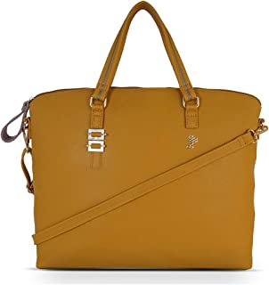 Baggit Spring-Summer 2021 Faux Leather Women's Tote Handbag (Yellow) (Couge)