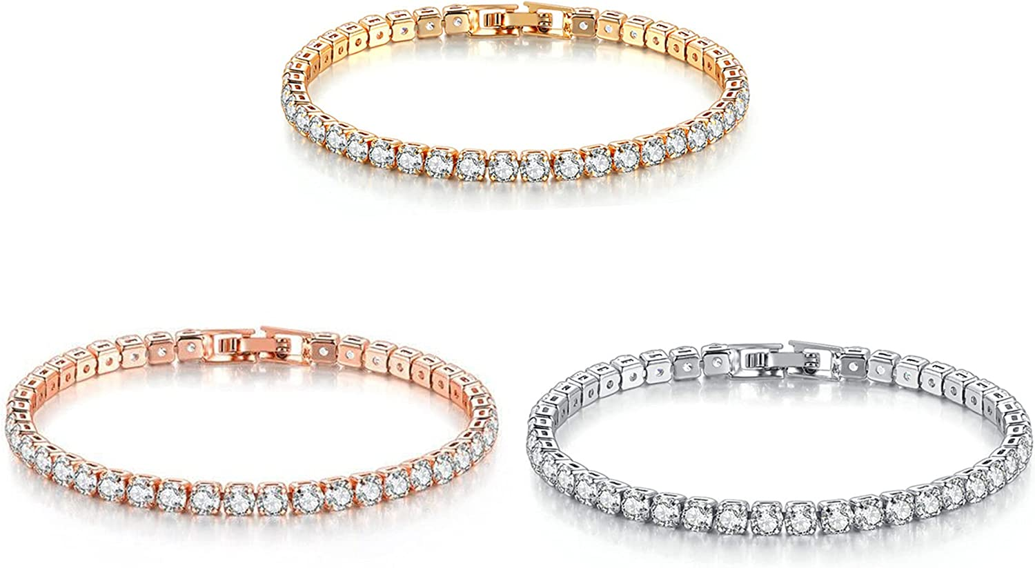 3 Pack Tennis Bracelet Cubic Pl Zirconia Silver Jewelry Free shipping on quality assurance posting reviews Sterling