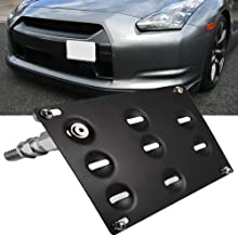 AXECO Front Bumper Tow Hook License Plate Bracket Holder...