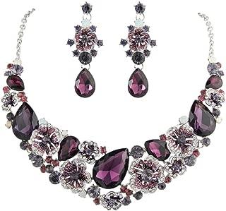 Women's Austrian Crystal Teardrop Camellia Necklace Earrings Set for Prom, Bridal