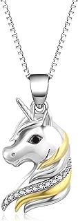 Sterling Silver Unicorn Pendant Necklace Stud Earrings Ankle Bracelet for Women Or Girls