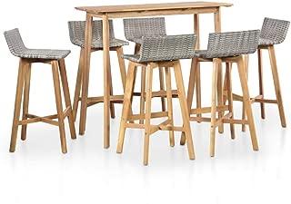 Tidyard Outdoor Indoor Wood Bar Set, 7 Piece Patio Garden Bar Dining Set Poly Rattan Solid Acacia Wood