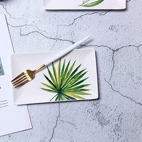 LILICEN Nordic Creativo Snack-cerámica Placa Rectangular Restaurante Utensilios de Frutas Placa de Postre Ventilador Girasol 20X12Cm