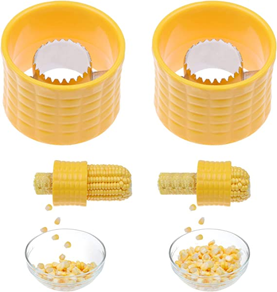 Corn Stripping Tool, Set of 2 - These Corn Cobber Tools are the Easiest Way to Remove Kernels from Fresh Corn - Just Push Corn Through the Device - The Stainless Steel Blades Work as a Corn Zipper