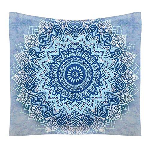 FEOYA Mandala Wall Tapestry Tapiz en la Pared Estilo Indio Bohemio Clásico Decoraciòn la Habitaciòn Toalla de Playa Hippie de 150cm*130cm - Color Azul