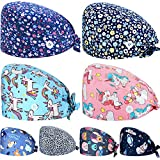 8 Pieces Working Caps with Button Tie Back Hats with Sweatband for Women Men (Lovely Style)