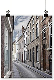 Canvas Painting Cityscape Brug Streets Belgium. Architecture Town Scene Home Decor on Canvas,12