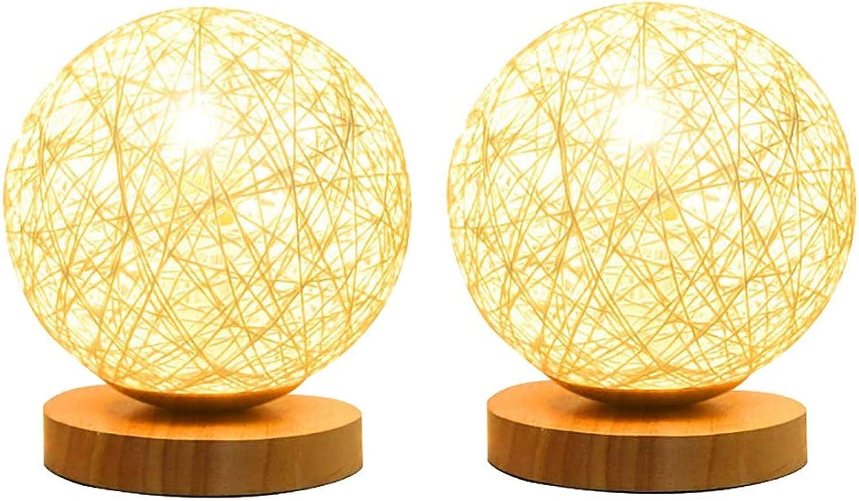 Schlafzimmer DIY Weben Tischlampe, Rattan Kugelform Energiesparende Schreibtischlampe Leuchte - Perfekte LED Nachtlampe Für Wohnzimmer Schlafzimmer Hause Esszimmer Bücherregal Dekoration E27 Tischleuc