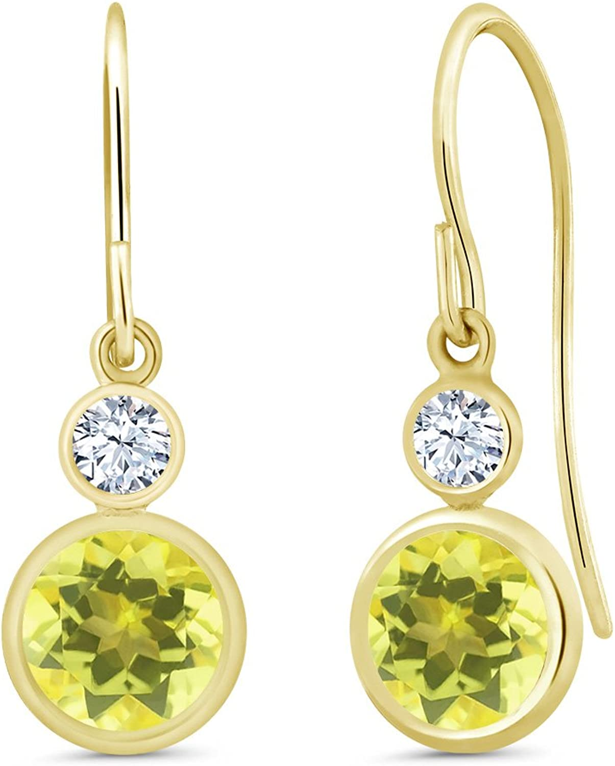 2.22 Ct Round Canary Mystic Topaz 14K Yellow gold Earrings