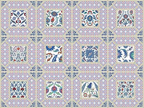 The Nisha 24 PC pegatinas para pared Adhesivo de Pared Salpicadero de Vinilos Azulejos Adhesivos Arte Ecléctico para la Cocina & Baño, 10x10 cm, Iznik