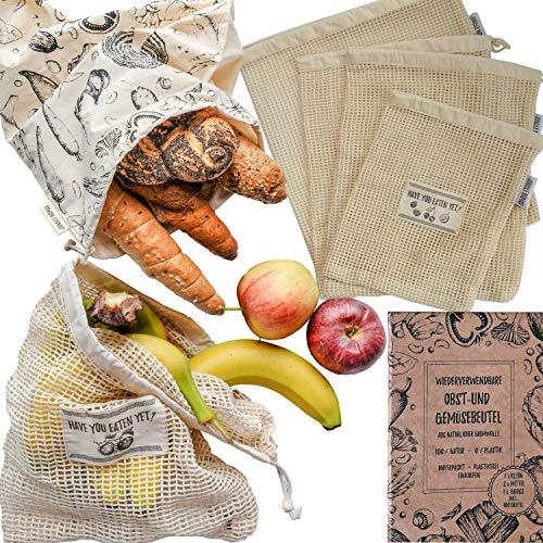 Jungle Nomad® Wiederverwendbare Obst- und Gemüsebeutel aus Baumwolle - 5er Set inkl. Brotbeutel - Plastikfrei einkaufen mit nachhaltigen Gemüsenetzen