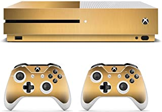 UUShop Protective Vinyl Skin Stickers for Microsoft Xbox One S with Two Free Wireless Controller Wire Metal Champagne Gold