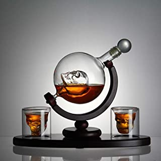 Skull Whiskey Decanter Set with Wooden Base, 2 Skull Shot Glasses Ice, Ice Cube Trays - Liquor Dispenser for Liquor, Scotch, Bourbon, Vodka - Perfect Present 800 Milliliter