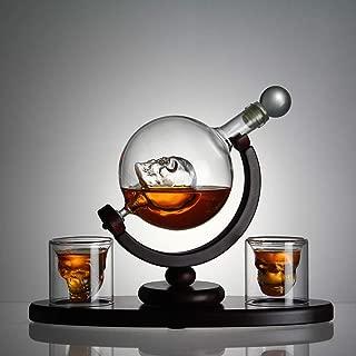 Skull Whiskey Decanter Set with Wooden Base, 2 Skull Shot Glasses Ice, Ice Cube Trays - Liquor Dispenser for Liquor, Scotch, Bourbon, Vodka - Perfect Present 800 Milliliter