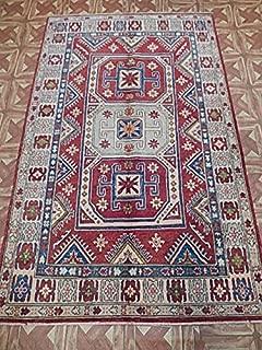 Ghazni Wool Area Rug 4x6 Billiard Room Carpet Hand Knotted Kazak
