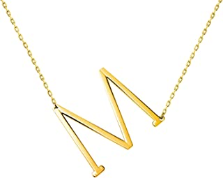 Stainless Steel Initial Letters Necklace for Women and Girls Color Gold and Silver from A-Z