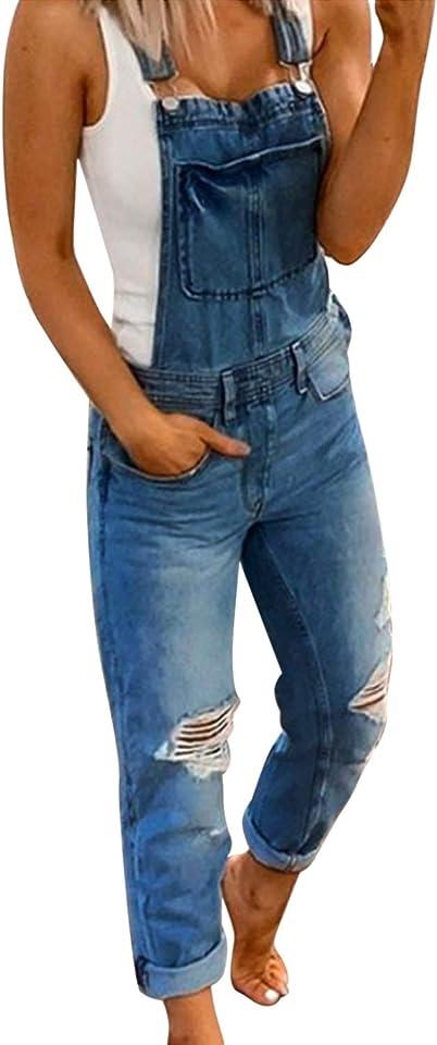 Floral Print Jeans Jumpsuits Playsuit for Women Plus Size Long Denim Trousers Dungarees