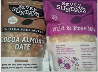 Seven Sundays Gluten Free Cocoa Almond Date + Blueberry Chia Buckwheat Muesli (PACK OF 2 BAGS)