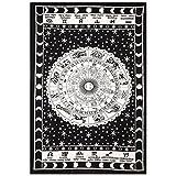 Blanco y Negro del zodiaco Tapiz colgante de pared horóscopo tapiz indio astrología Hippie tapices de pared para dormitorios Boho Doble Bedding Zodiac Tapiz 85'X 55'