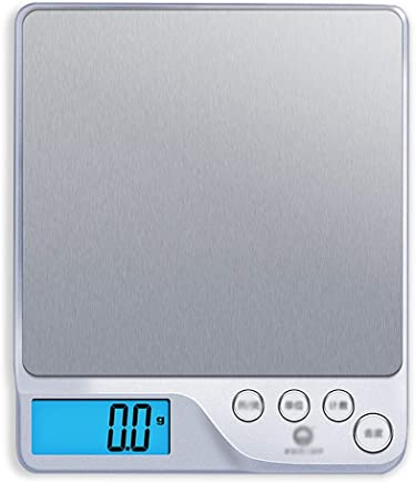 Kitchen Scales - Stainless Steel, 4 Units, Night Vision Backlight, Stylish Home Silver high Precision Food Mini Electronic Weighing Scale - 3 ranges Available (Size : 1g-3kg)