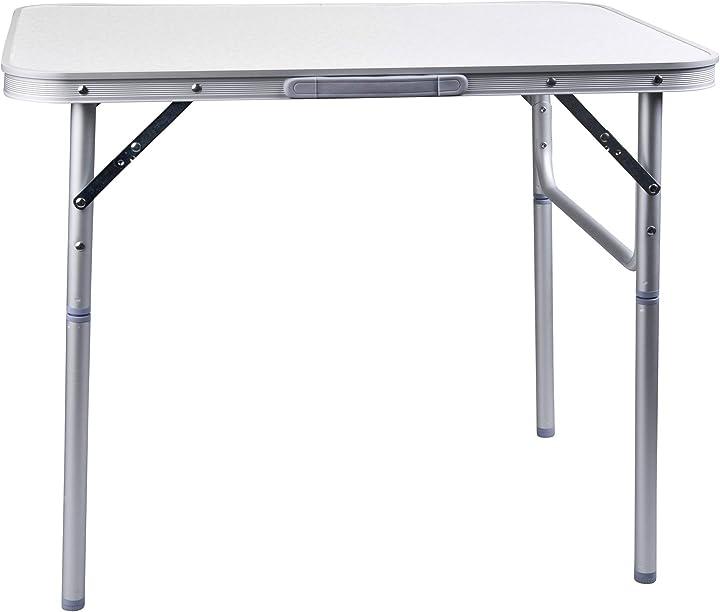 Camp active - tavolo pieghevole in alluminio, argento, 75 x 55 x 60 cm, regolabile in altezza 44756