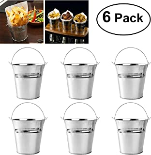 OUNONA Mini Metal Bucket Set of 6 /Mini Food Containers/Succulent Wedding Buckets 10.5x7.2x10.5cm
