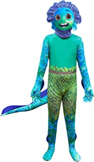 Boys Halloween Cosplay Costumes Lu-ca Dress Up Sea Monster Jumpsuit with Mask Tail