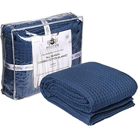Amazon Com Hillfair 100 Combed Cotton Blanket Twin Size Bed Blankets Warm Soft All Season Breathable Lightweight Summer Blankets Waffle Weave Home Decor Bed Blanket Navy Twin Bed Cotton Blankets Bedcovers Kitchen Dining