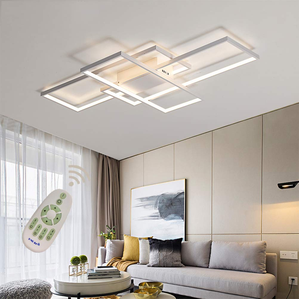 LED Modern Ceiling Light Flush Mount Square Fixture Living Room Lamp  Dimmable with Remote Control Acrylic-Shade White Chandelier Pendant  Lighting for