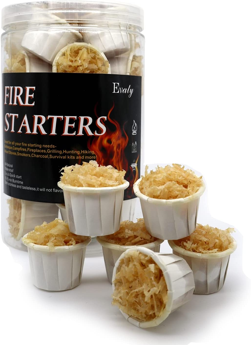 Evaty All Natural Fire Starters pcs Columbus Mall Outdoor 25 service Waterproof Indoor