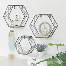 $39 » shamoluotuo Hexagon Floating Shelves Kitchen Metal Wall-mounted Storage Display Shelf with Wooden Bracket Hanging Geometric Figure Decoration for Living Room Bedroom Dining (3 PCS, 2 Large + 1 Small)