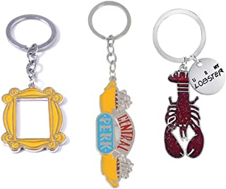 Friends TV Show Key Chains (set of 3) Badge Souvenir Set Pendant (Central Perk Coffee Time Picture, Yellow Picture Frame, Lobster)