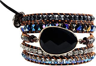 YGLINE 3 Stands Layers Mix Stone Genuine Leather Wrap Bracelet Boho Jewelry for Women Collection
