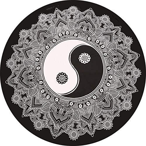 Manta redonda de mandala india en blanco y negro hippie para decoración de...