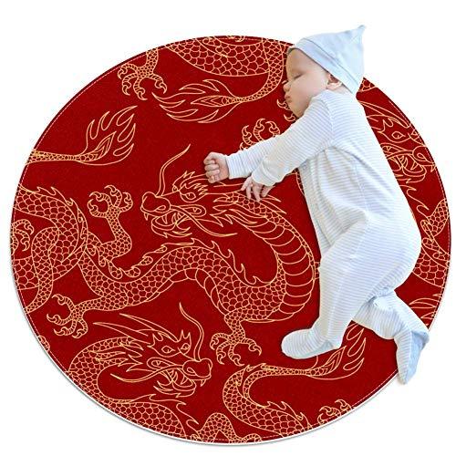 PLOKIJ Chinesischer Drache Kindergarten Teppich Kreis Kinderteppich Kreis Kinder Spielmatte Baby Junge Mädchen Weicher Teppich Bereich Teppich, 80 x 80 cm