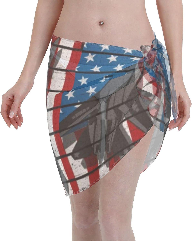Jet Fighter Military Air Force Women Beach Short Sarongs Cover Ups Beach Swimsuit Wrap Skirt Black