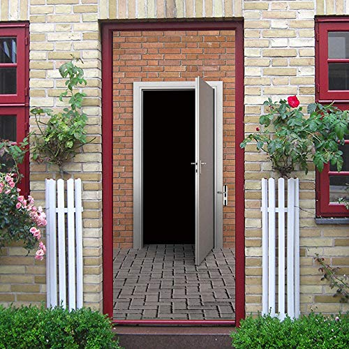 DIOPN baksteenmuur houten deur sticker zelfklevende folie venster melkglas schuifdeur badkamer raam sticker (deur sticker 77 * 200 cm)
