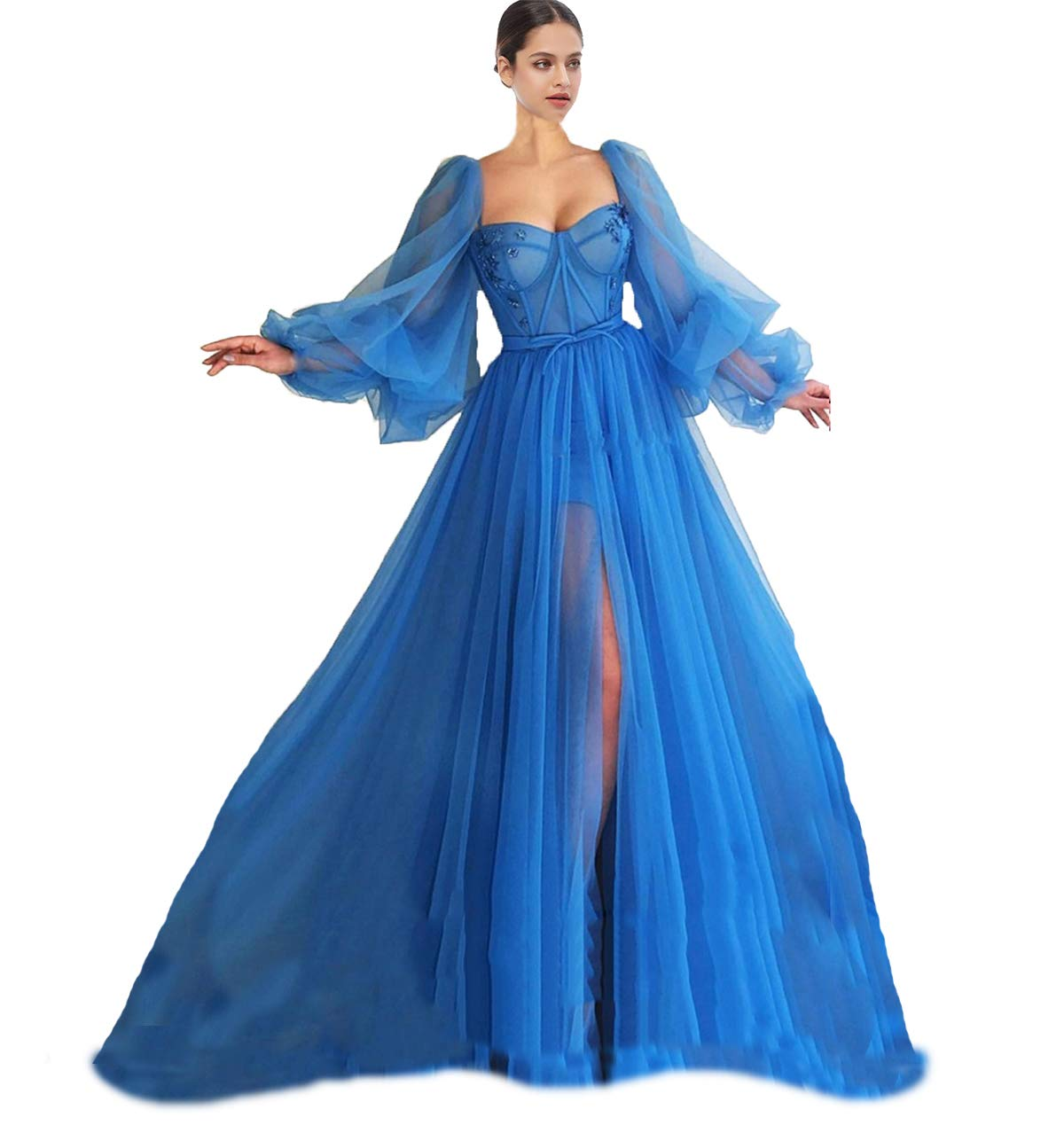 Available at Amazon: Xijun Long Puffy Sleeve Prom Dress Long with Split Evening Gowns Birthday Party Dresses
