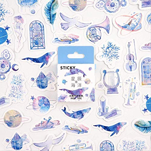 JUNZE Etiqueta en Caja Star Ocean Series Creative Girl Manual Decoración DIY Material 46Pcs