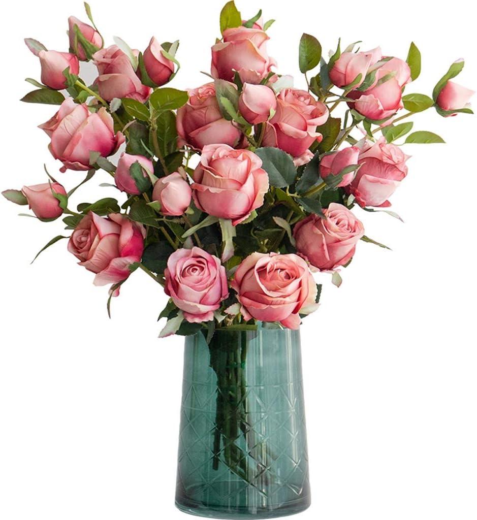 WTREA National products Nordic Artificial Flower glassVase Flower+Vase Set Rose Soldering