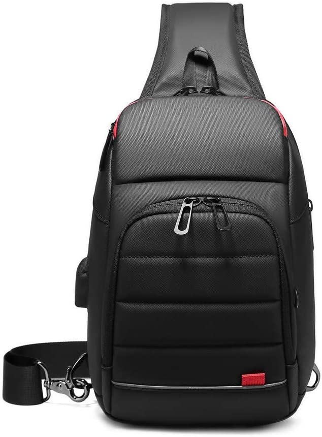 Sling 新作通販 Bag for Men Small Black Water Port Crossbody with Bags USB 返品不可