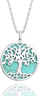 14K Gold Dipped Tree of Life Natural Gemstone Teardrop Pendant Necklace Healing Crystal Chakra Jewelry for Women - Synthetic Green Turquoise/Mother of Pearl